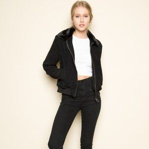 BRANDY MELVILLE Lily suede bomber jacket black
